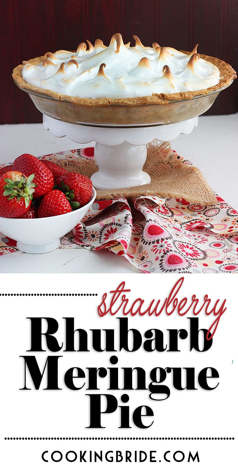 Strawberry rhubarb meringue pie combines tart rhubarb and sweet strawberries in a golden crust and topped with fluffy sweet meringue.