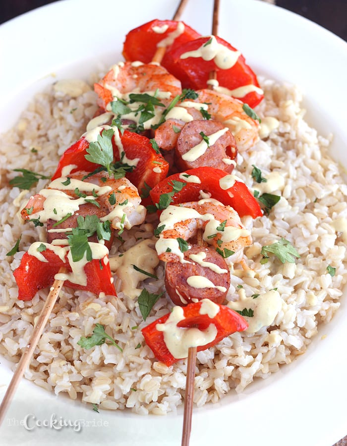 Andouille and Shrimp Kebabs - CookingBride.com