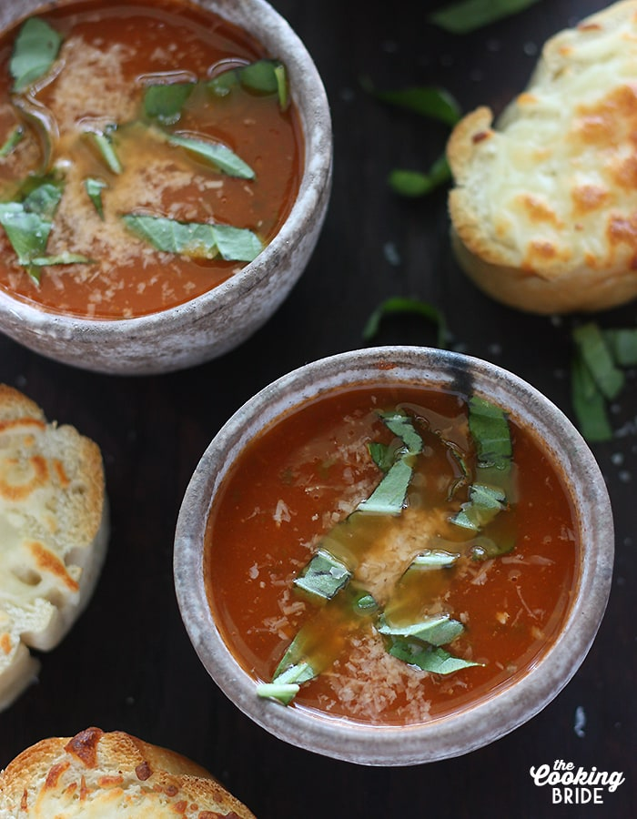 Classic and easy tomato basil soup is slowly simmered with diced tomatoes, onions, garlic, basil, and other fresh herbs. It's as healthy as it is tasty!