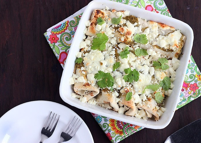 Chicken Enchiladas with Roasted Tomatillo Salsa Verde