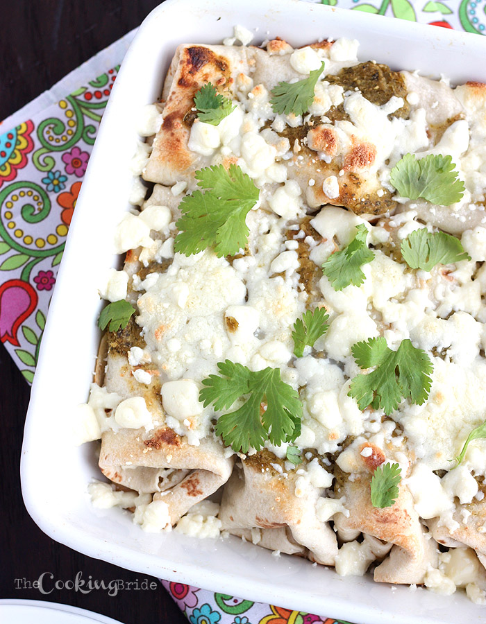 Chicken Enchiladas with Roasted Tomatillo Salsa Verde - CookingBride.com