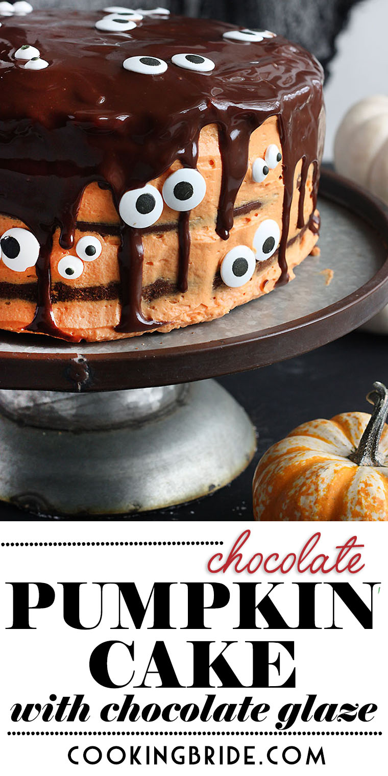 Pumpkin helps keeps this decadent chocolate pumpkin cake moist while orange icing and chocolate glaze give it a signature Halloween look.
