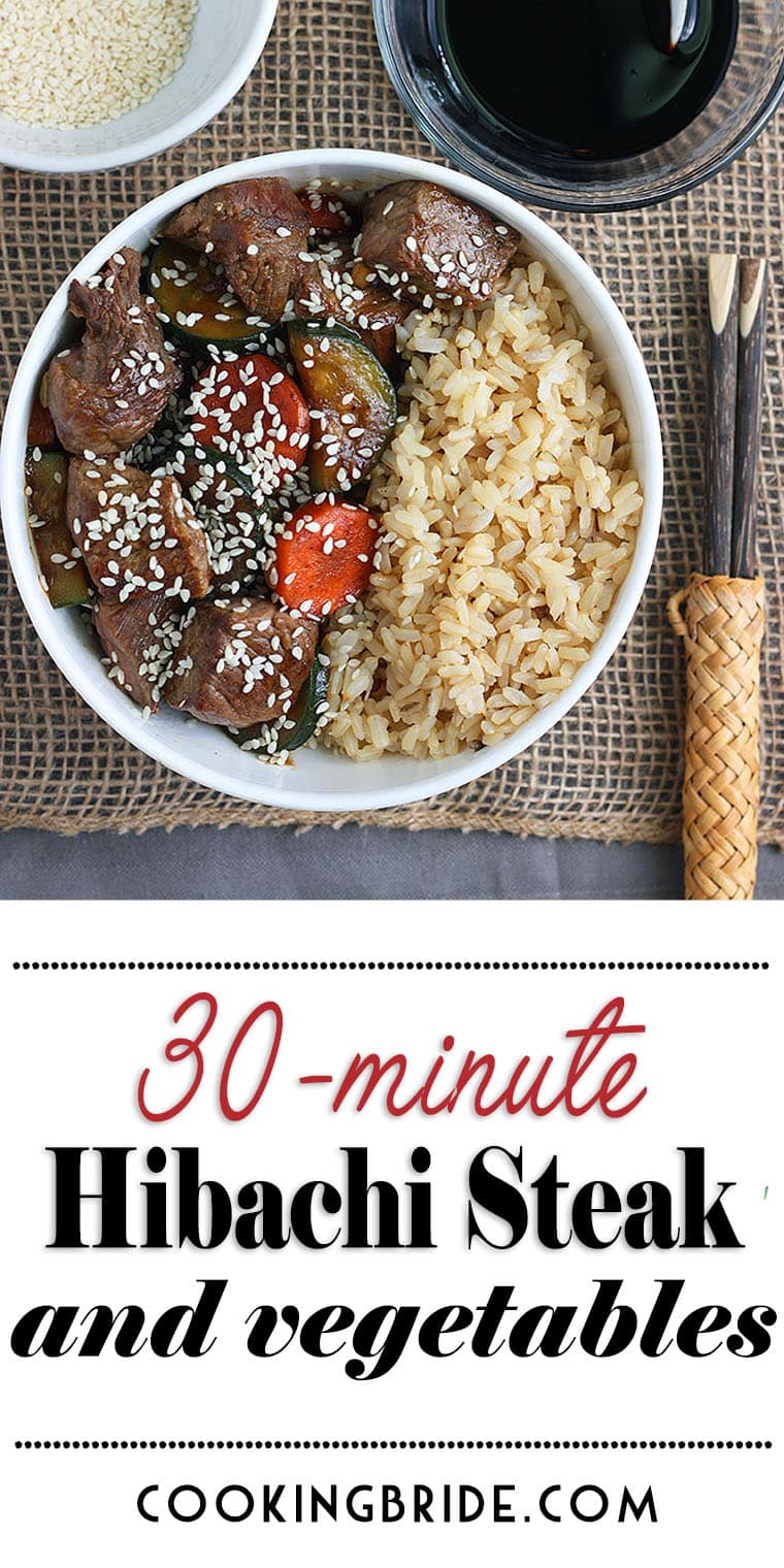 This do-it-yourself hibachi steak dinner is ready in under 30 minutes! Sirloin steak and tender vegetables are simmered in a rich Asian-inspired sauce.
