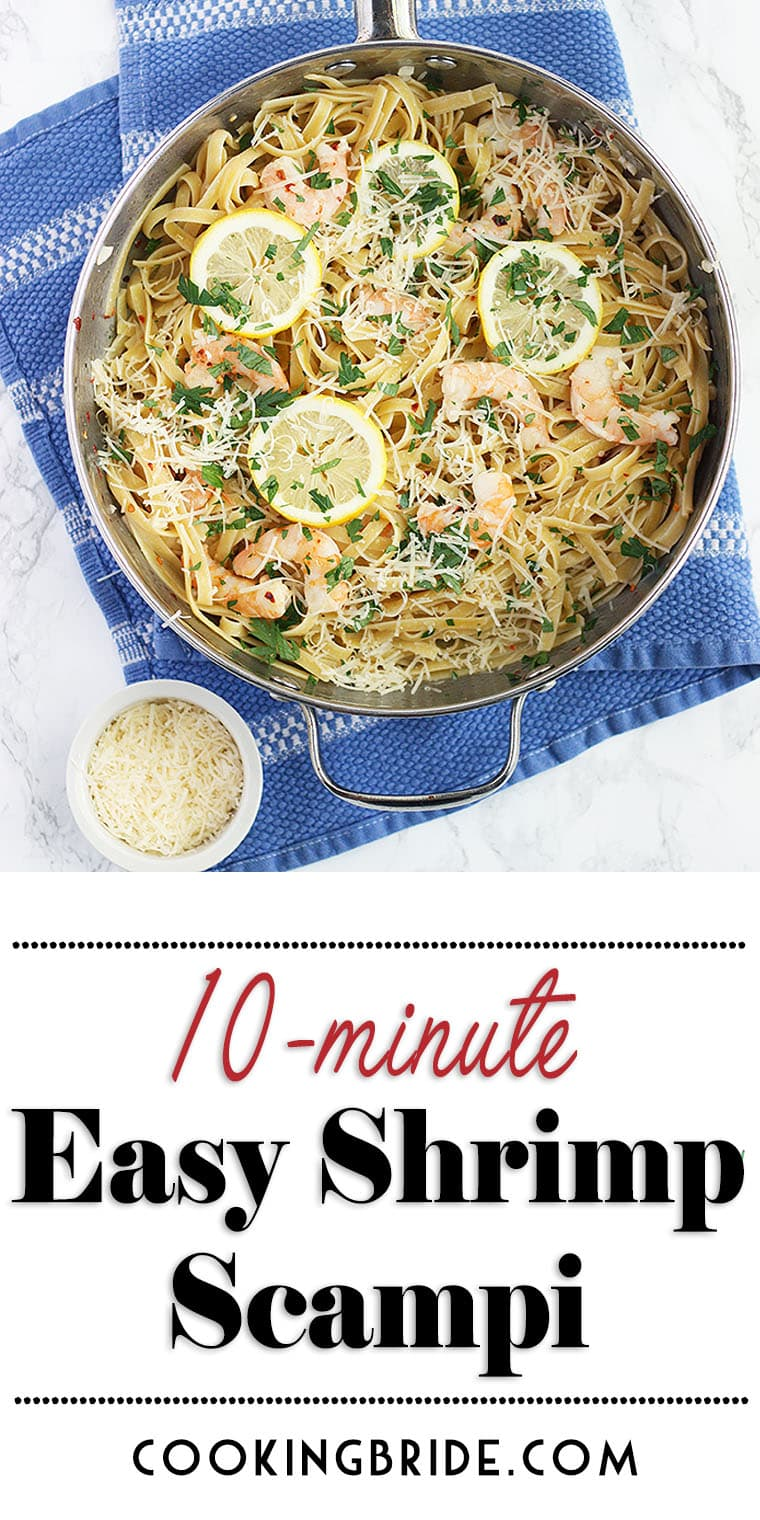 Easy shrimp scampi recipe with fettuccine is a one skillet weeknight meal that's ready in under 10-minutes. Served with a buttery garlic sauce.