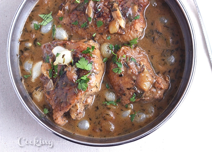 Chicken Thighs with Tarragon and White Wine Sauce - CookingBride.com