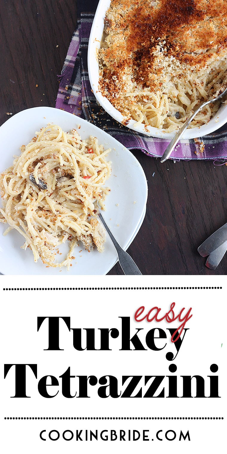 Easy turkey tetrazzini recipe is a great way to use up Thanksgiving leftovers. It has a rich and creamy sauce and topped with a buttery breadcrumb topping.