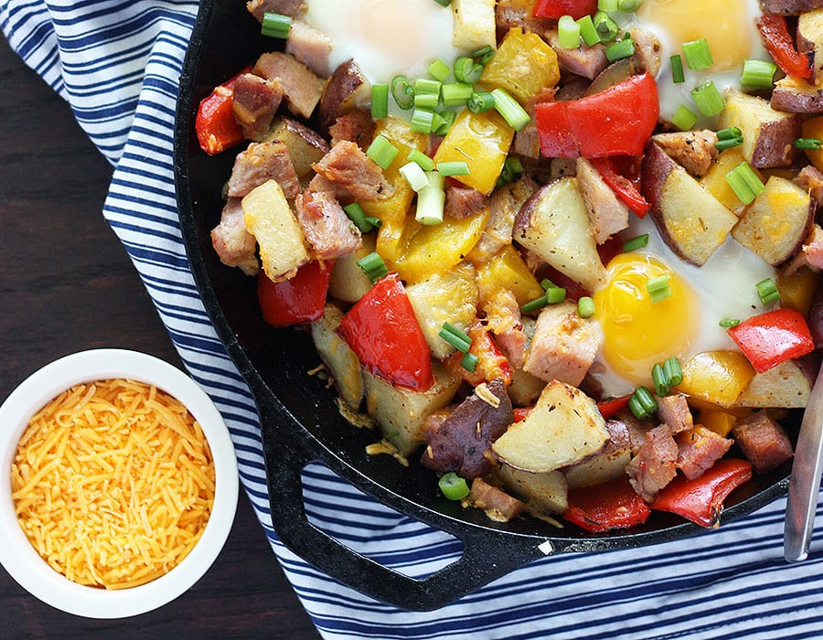 ham and egg hash with potatoes