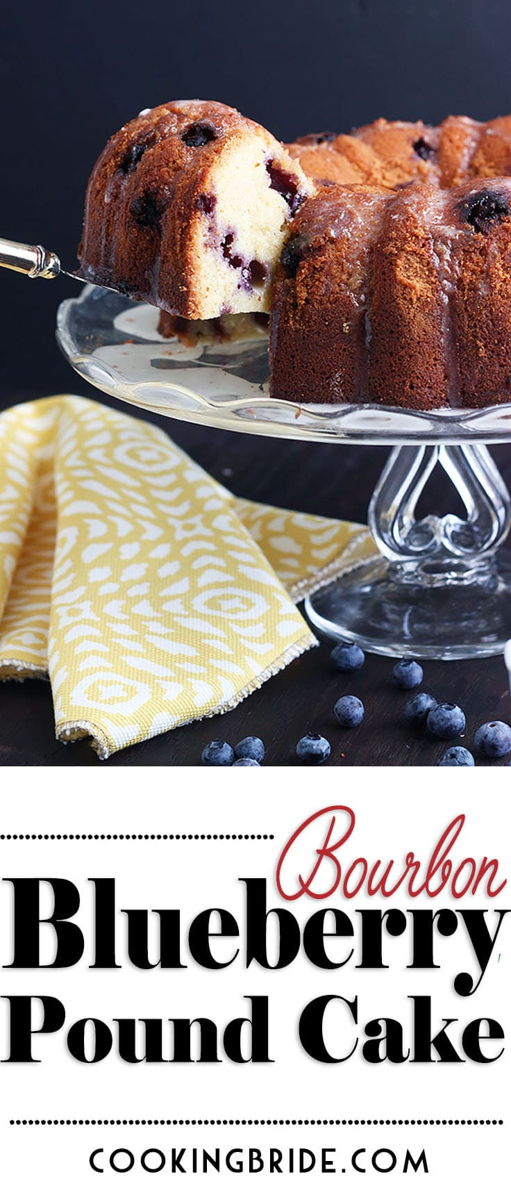 This yummy blueberry pound cake recipe gets its unique flavor from a splash of bourbon mixed right into the batter. Drizzle with sweet glaze or serve with vanilla ice cream.