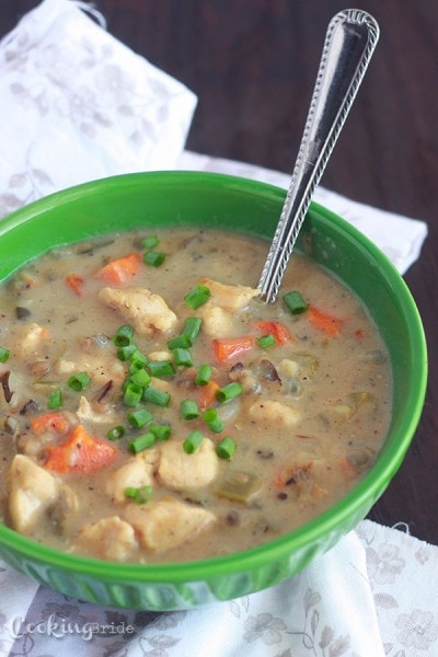 Rich and creamy poblano chicken chowder with wild rice contains diced chicken breasts, poblano peppers, vegetables and spices.