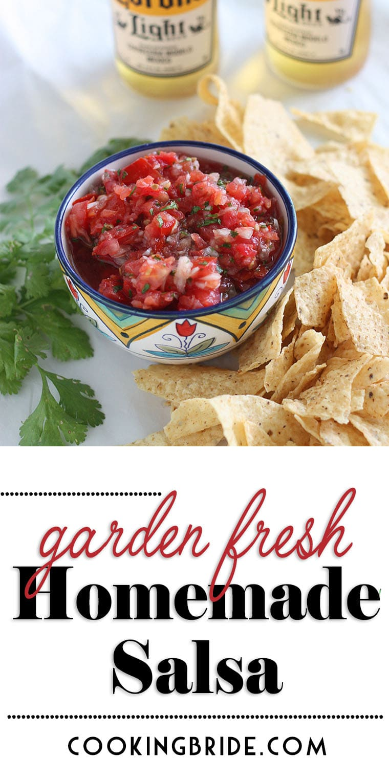 Fresh roma tomatoes, onions, jalapenos, and cilantro burst with flavor in this garden fresh salsa recipe. You'll never eat store bought again.
