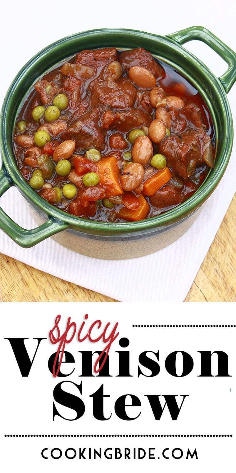 Deer meat is perfect for dishes that require long and slow cooking times, like this beautiful, deep burgundy spicy vegetable and venison stew recipe.
