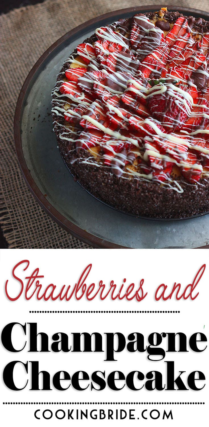 This decadent homemade strawberry cheesecake is the best you will ever put in your mouth. Real champagne is incorporated into the batter and it's topped with fresh strawberries drizzled with white and milk chocolate.