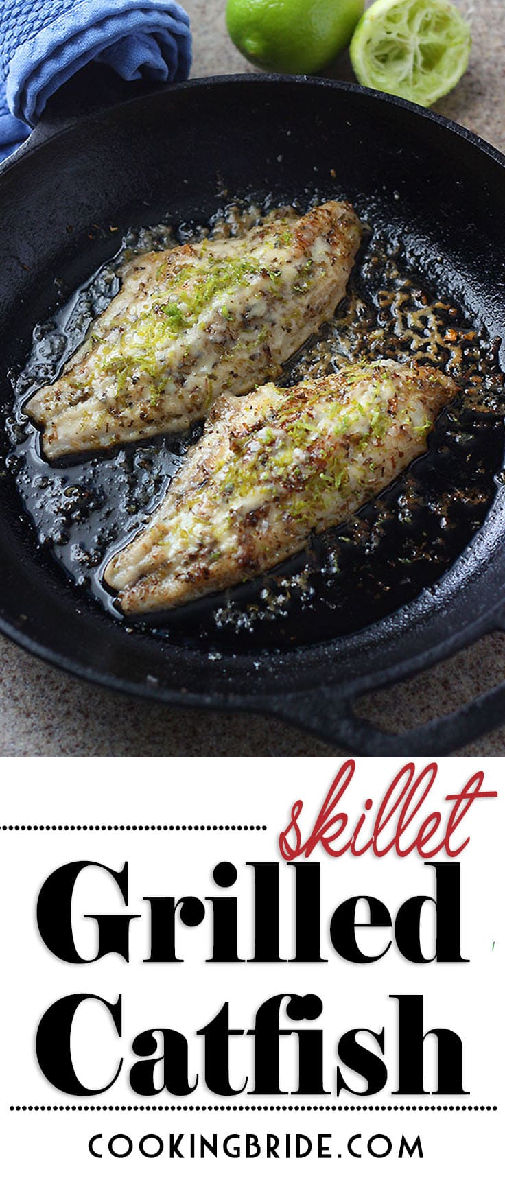 Looking for low carb dinner options? Try this skillet grilled catfish recipe that is full of flavor and easy enough for a weeknight meal. #Catfish #FishDinner #LowCarb