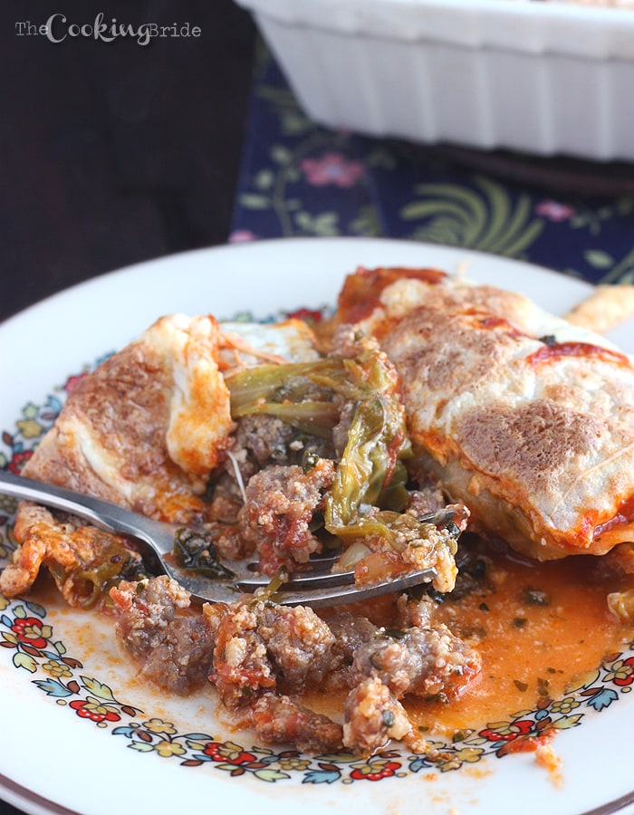 Sausage and Spinach Stuffed Cabbage Leaves - CookingBride.com