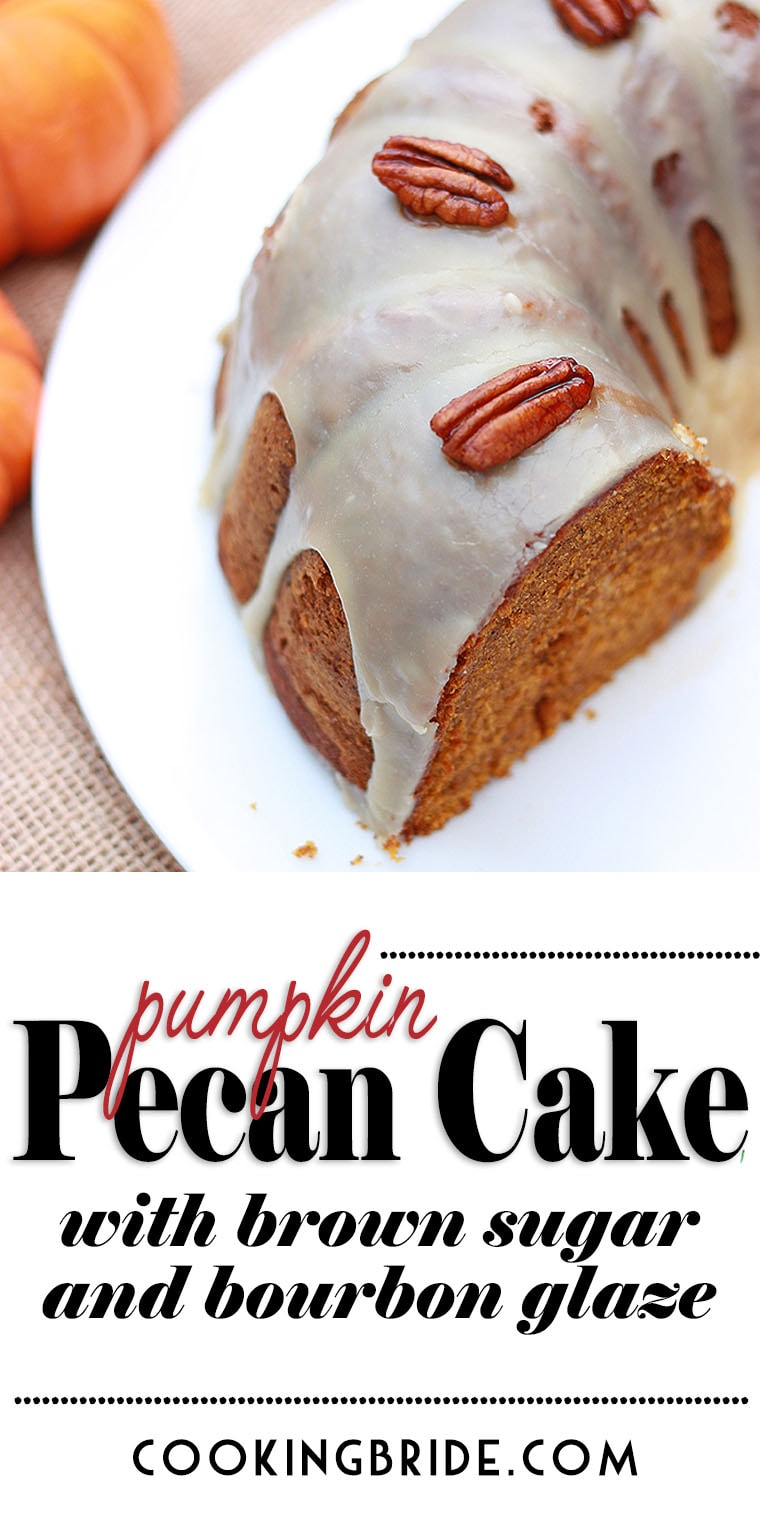 This delicious pumpkin pecan cake is glazed with a brown sugar bourbon glaze and garnished with sugared pecans. Perfect substitute for pumpkin pie!