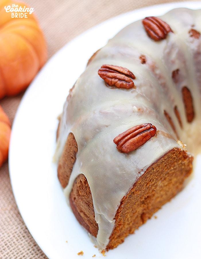 Pumpkin Pecan Cake with Bourbon Glaze - CookingBride.com