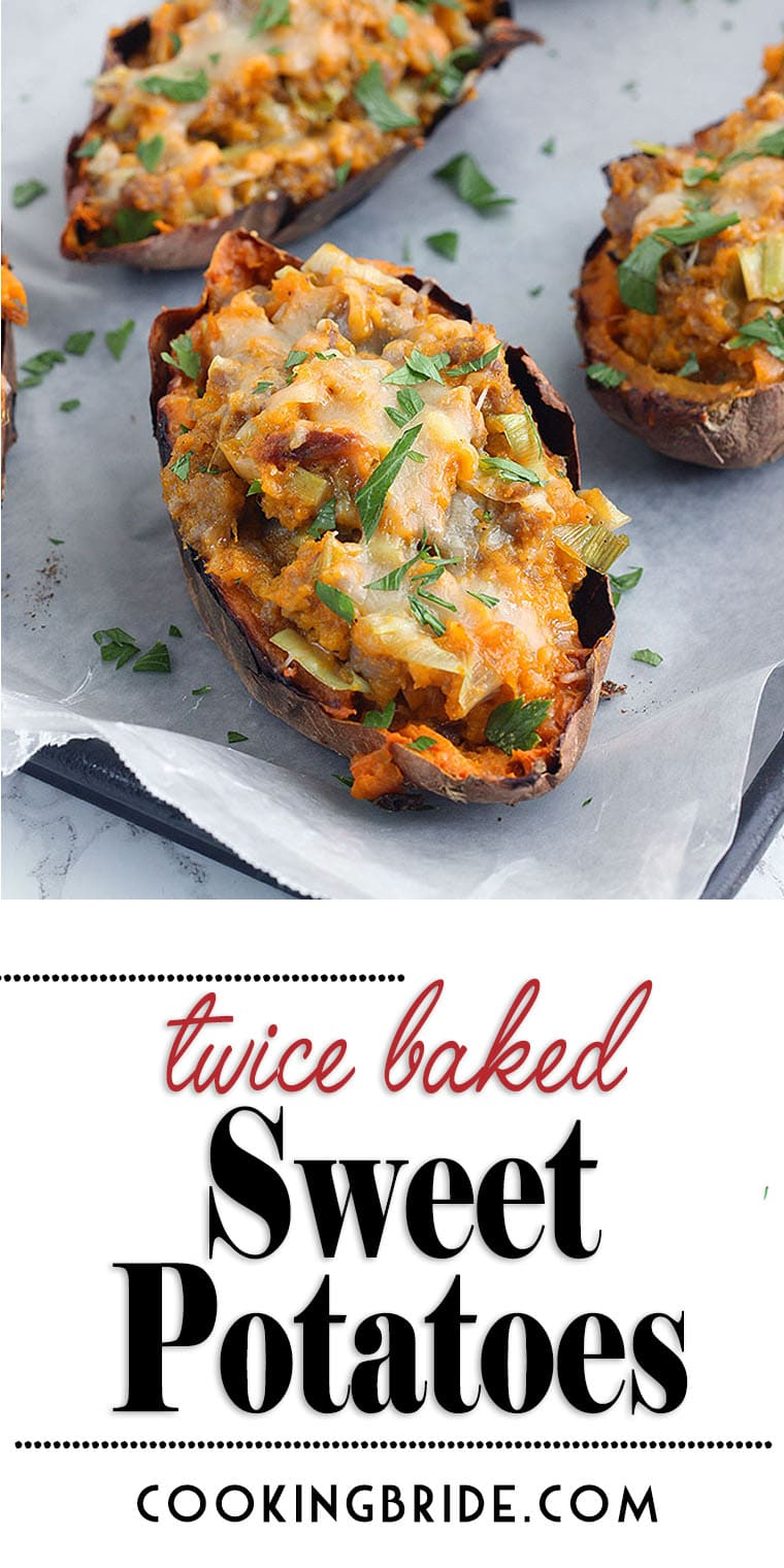 Twice baked sweet potatoes stuffed with Italian sausage, leeks, and topped with grated Swiss cheese bring new flavors to a popular side fall vegetable.