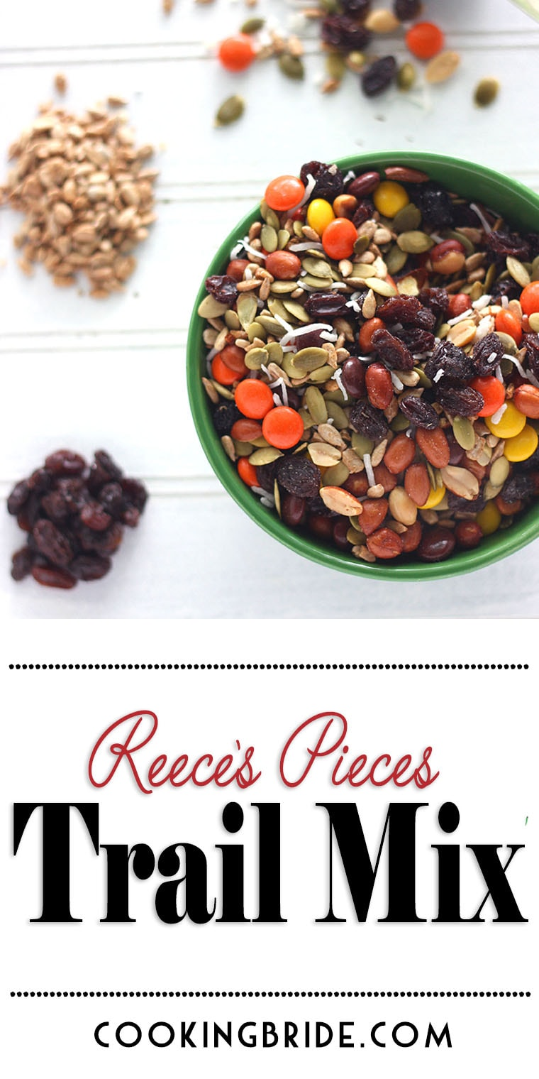 This easy-to-make Reece's trail mix recipe contains roasted, shelled pumpkin seeds, sunflower seeds, raisins, coconut, peanuts, and Reese's pieces.