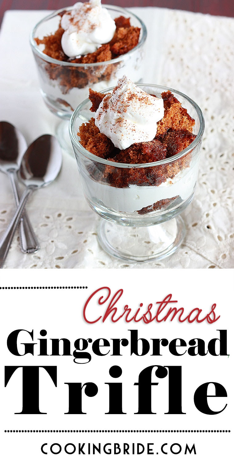 Gingerbread trifle combines spicy homemade gingerbread cake with eggnog infused whipped cream in this light Christmas dessert.
