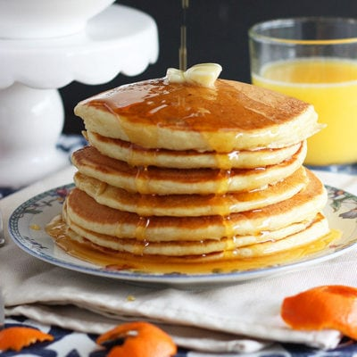 Buttermilk Pancakes from Scratch with Homemade Orange Syrup