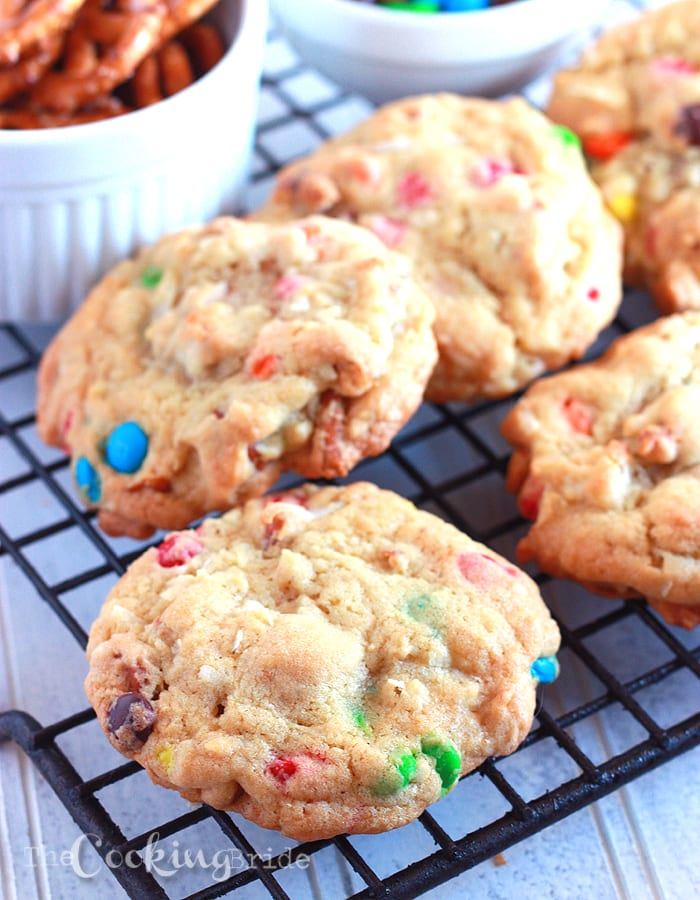 Loaded Pretzel Cookies with Coconut and M&M's - CookingBride.com