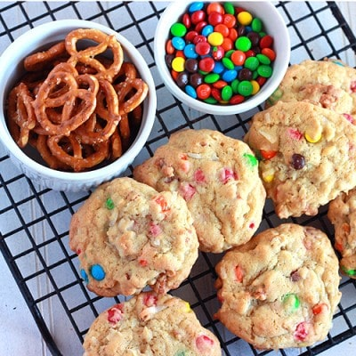 Loaded Pretzel Cookies with Coconut and M&M's