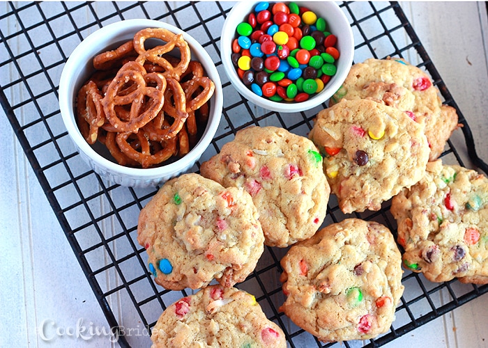 Salty pretzels, chewy coconut, and sweet M&M's give these loaded pretzel cookies an abundance of tastes and textures.