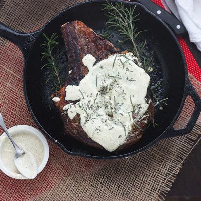 Rib Eye Steaks with Horseradish Mustard Sauce