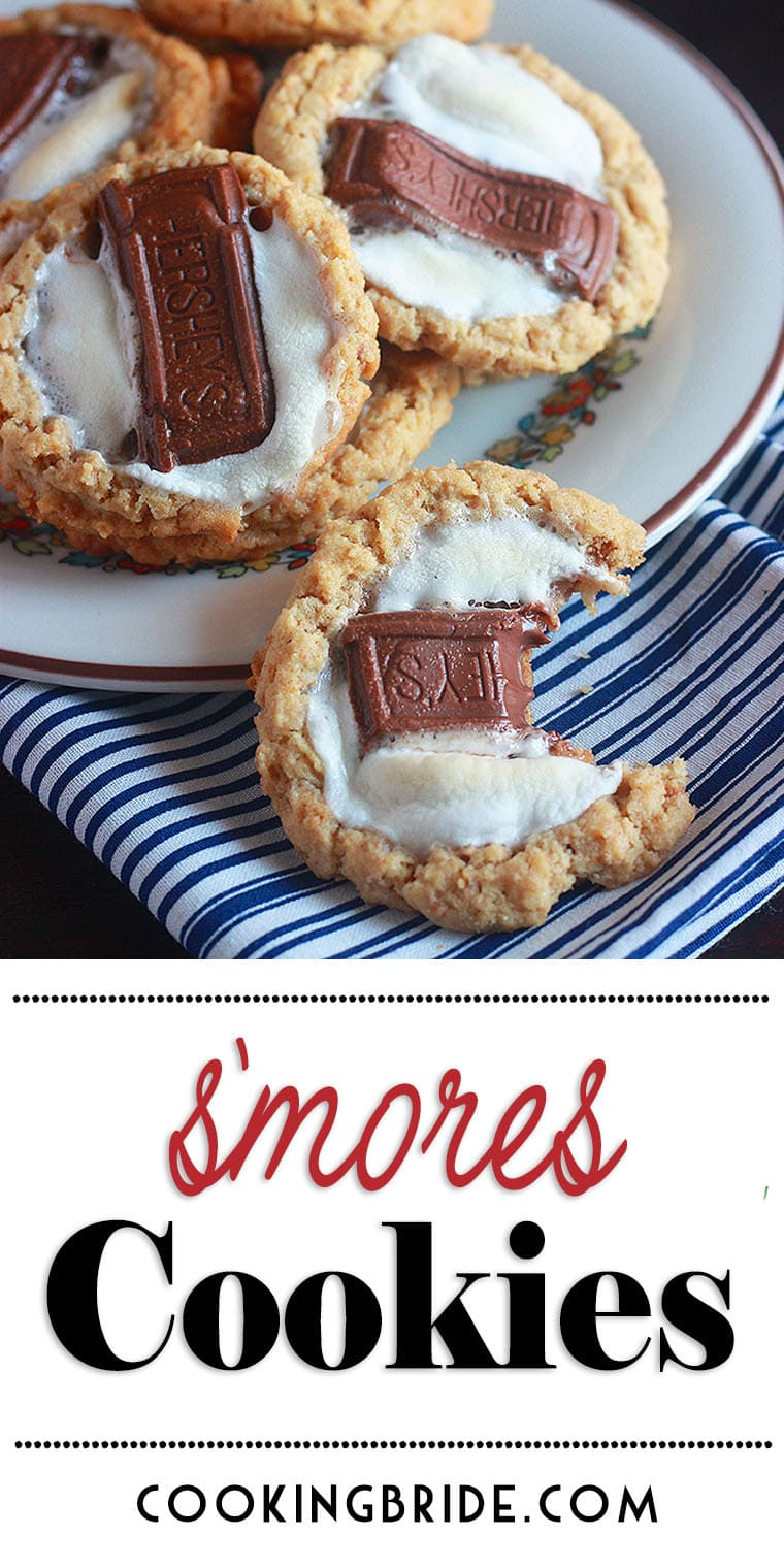 S'mores cookies combine a very tender peanut butter and graham cracker cookie, topped with a chewy marshmallow and a melty piece of milk chocolate.