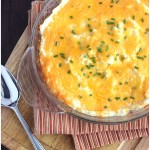 Easy recipe for homemade mashed potato casserole is cheesy, delicious, only contains five ingredients, and is freezer friendly.
