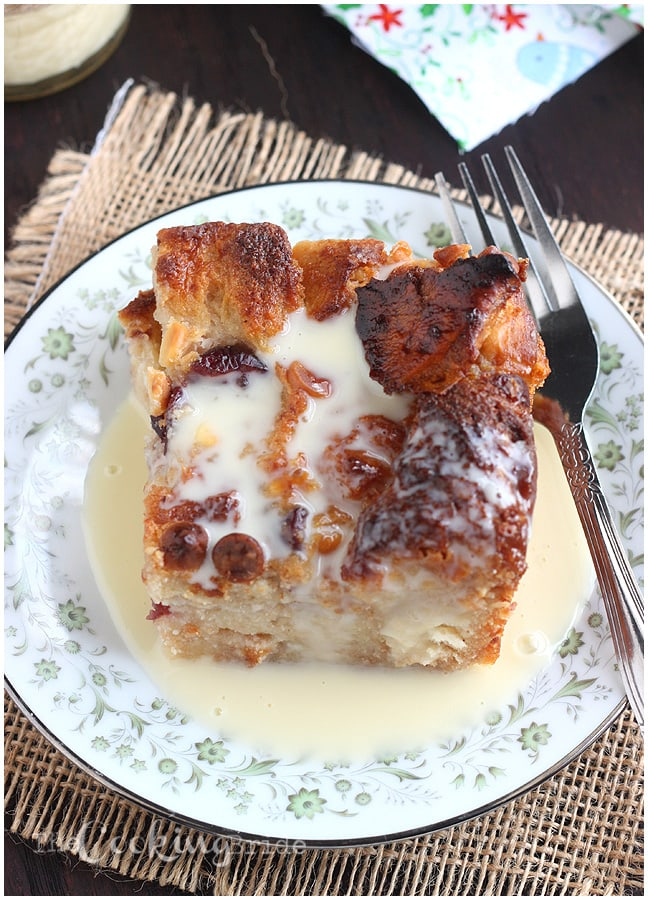 White Chocolate Cranberry Bread Pudding with Rum Creme Anglaise - CookingBride.com
