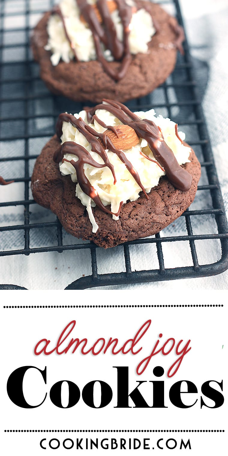 Almond Joy cookies taste just like the candy! A chocolate cookie base is topped with coconut, a toasted almond, and chocolate.