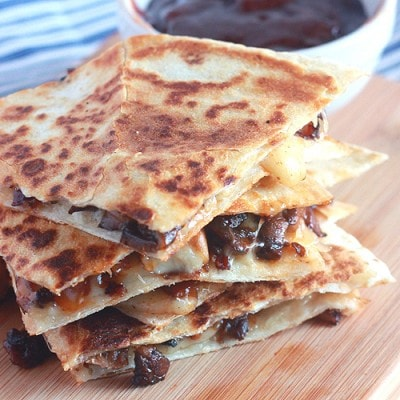 Barbecue Bacon Mushroom Quesadillas