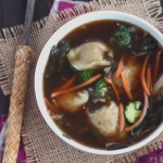 Tender chicken tortellini, veggies and tangy thai chili vinegar make give this garden vegetable chicken wonton soup a spicy kick.