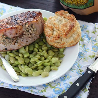 Pesto Rice Stuffed Pork Loin Chops
