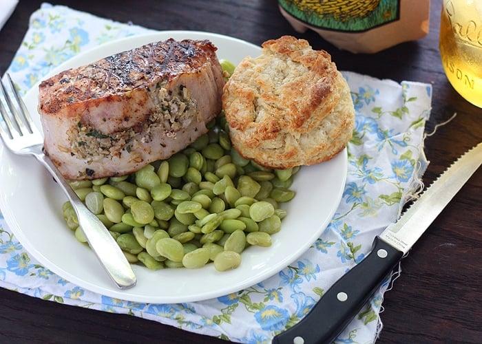Pesto Rice Stuffed Pork Loin Chops - The Cooking Bride