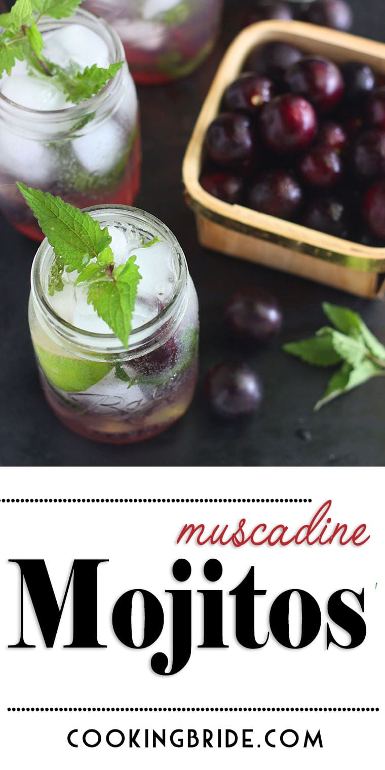 Muscadine simple syrup is combined with white rum, fresh mint leaves, lime juice and club soda in this Southern twist on a popular Cuban drink.