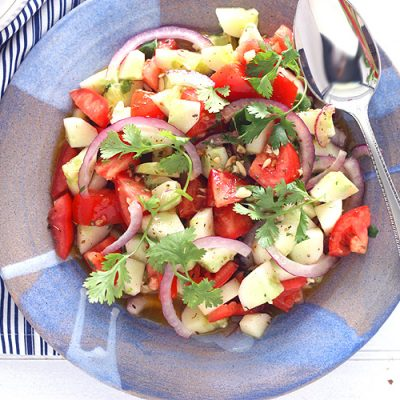 Cucumber Tomato Salad with Tequila Vinaigrette