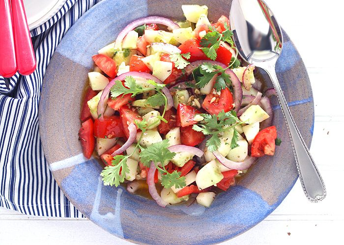 Tomato Cucumber Salad with Tequila Vinaigrette
