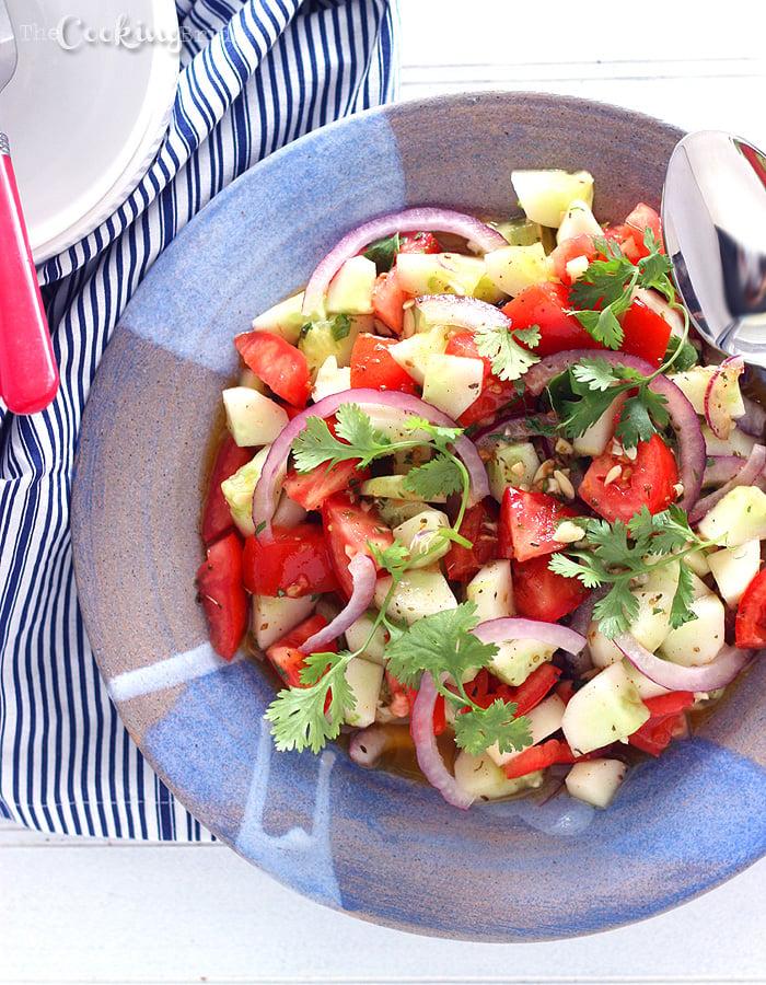 Tomato Cucumber Salad with Tequila Vinaigrette - CookingBride.com