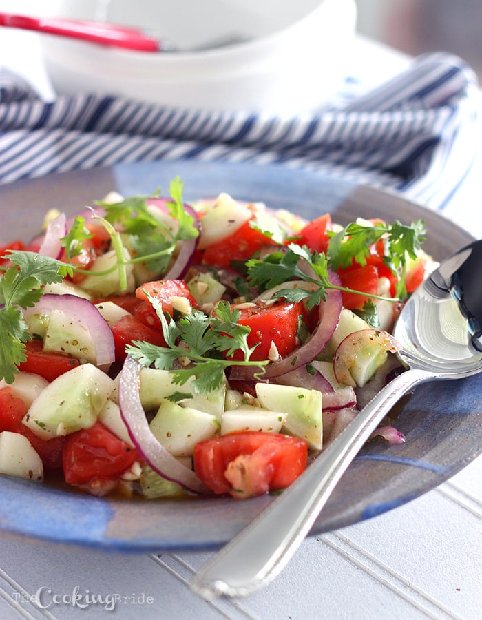 Tomato Cucumber Salad with Tequila Vinaigrette - CookingBride.com