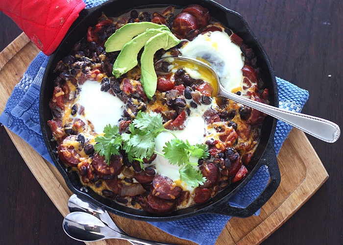 Baked Eggs with Andouille and Black Beans