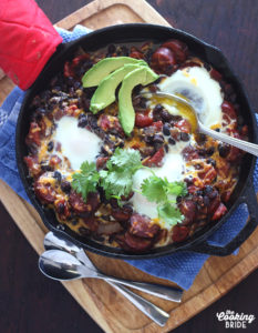 Baked Eggs with Andouille and Black Beans - CookingBride.com