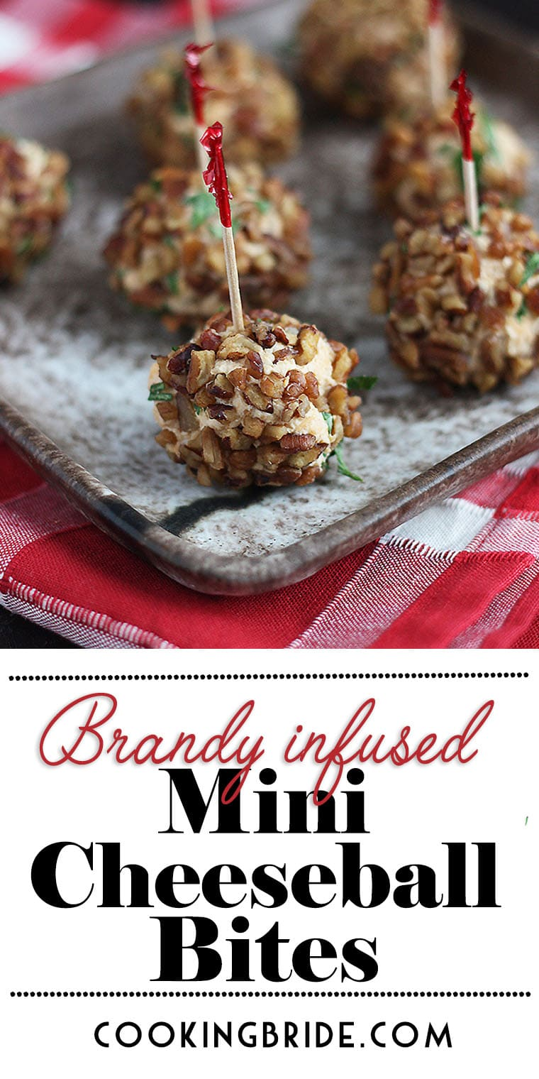 Brandy Infused Mini Cheese Ball Bites are made with tangy cheese, soft cream cheese and Brandy for a little kick. Chopped pecans give added crunch.