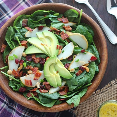 Spinach Pear Salad with Dried Cranberries and Bacon