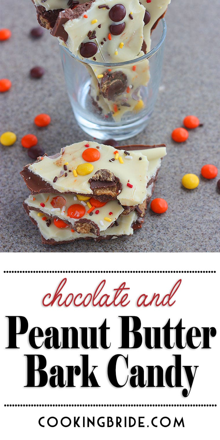Chocolate peanut butter bark candy satisfies that sweet tooth with milk and white chocolate sprinkled with Reese's candy for a truly yummy treat.