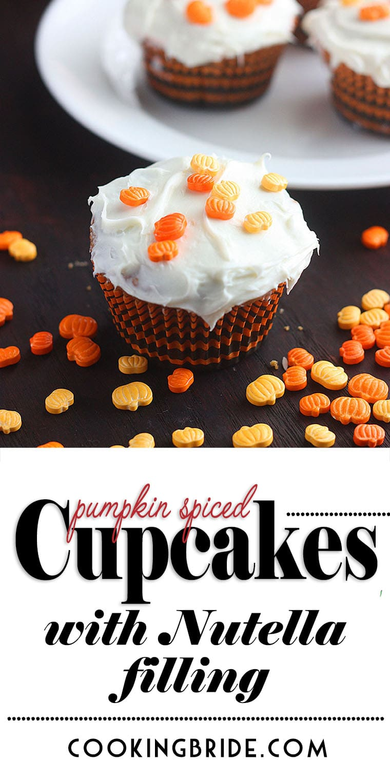 These easy pumpkin spice cupcakes have a sweet surprise Nutella center.