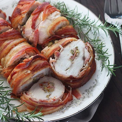 Olive Stuffed Bacon Wrapped Turkey Breast