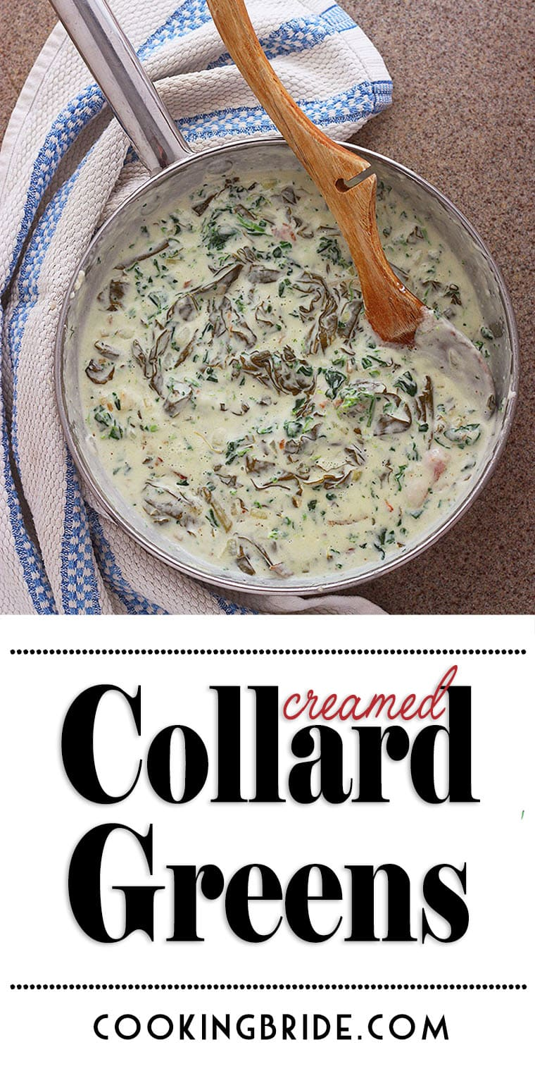 If you love creamed spinach, you will adore this Southern spin on creamed collard greens. Tender greens are sauteed with onion, garlic and heavy cream.