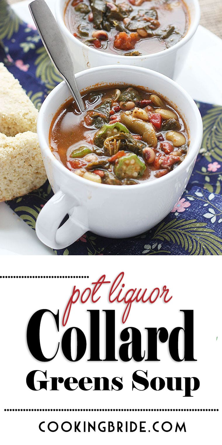 Pot liquor, the flavorful liquid leftover after cooking down a pot of greens, is the base of this hearty collard greens soup. It's also chock full of tender beans and veggies.